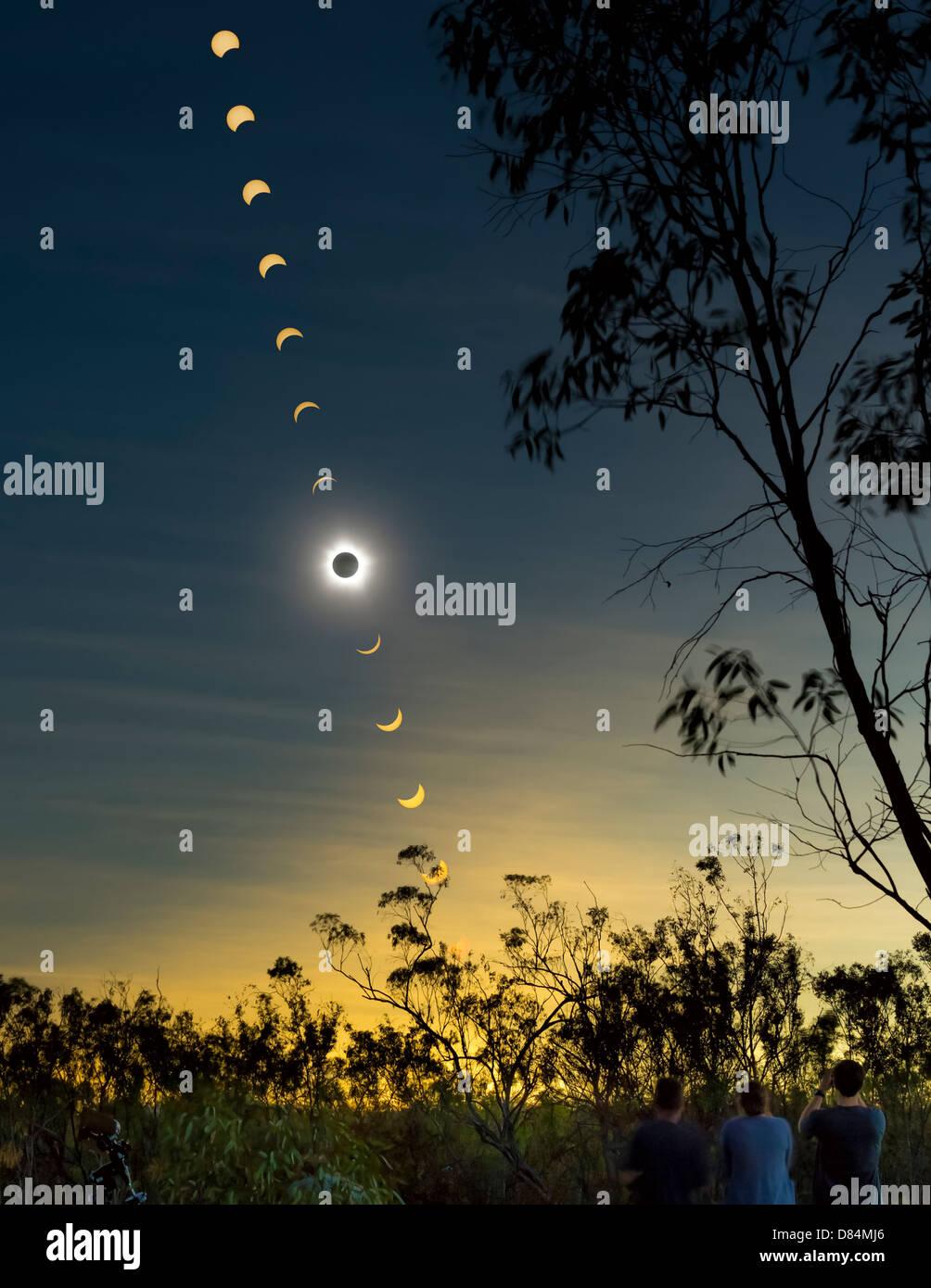 Sonnenfinsternis-Verbund mit Beobachtern, Mulligan Highway, Queensland, Australien. Stockbild