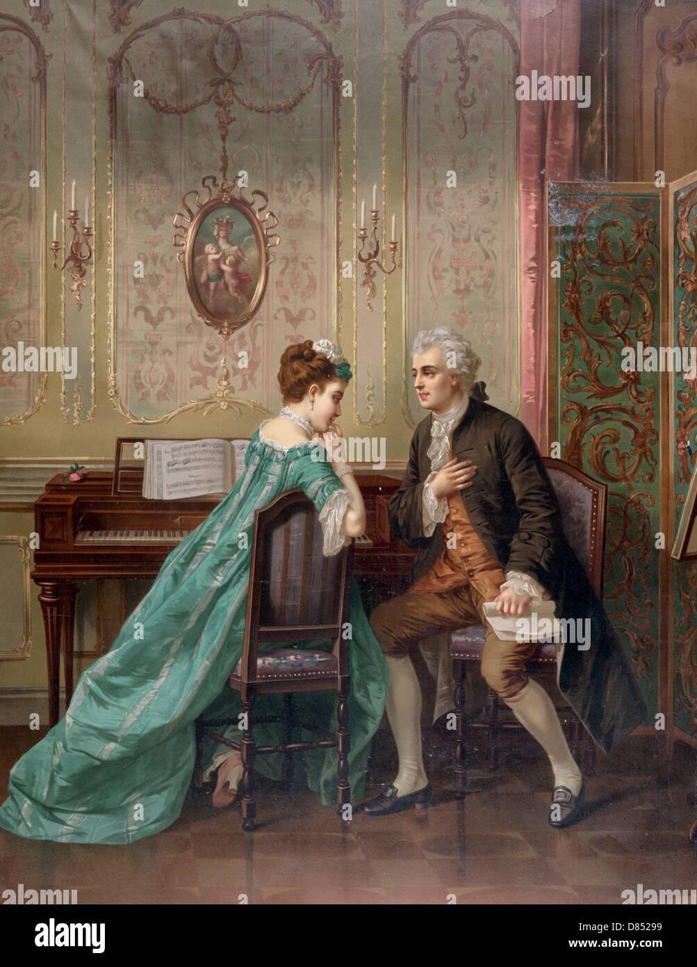 Der Vorschlag - Mann schlägt Frau sitzend am Tasteninstrument, ca. 1873 Stockbild