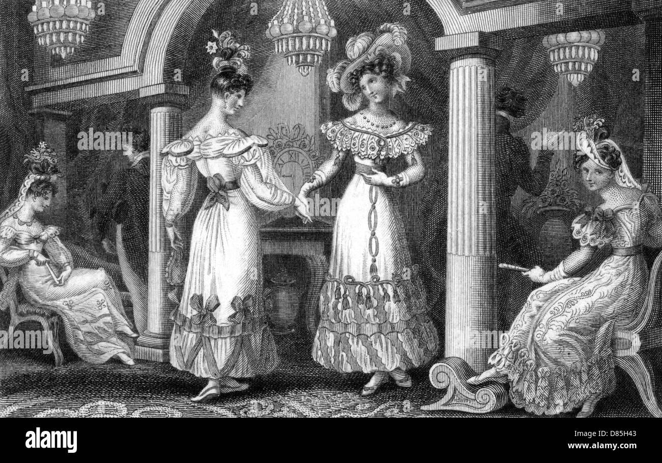 Vier modische Damen an einem Soiree Stockbild