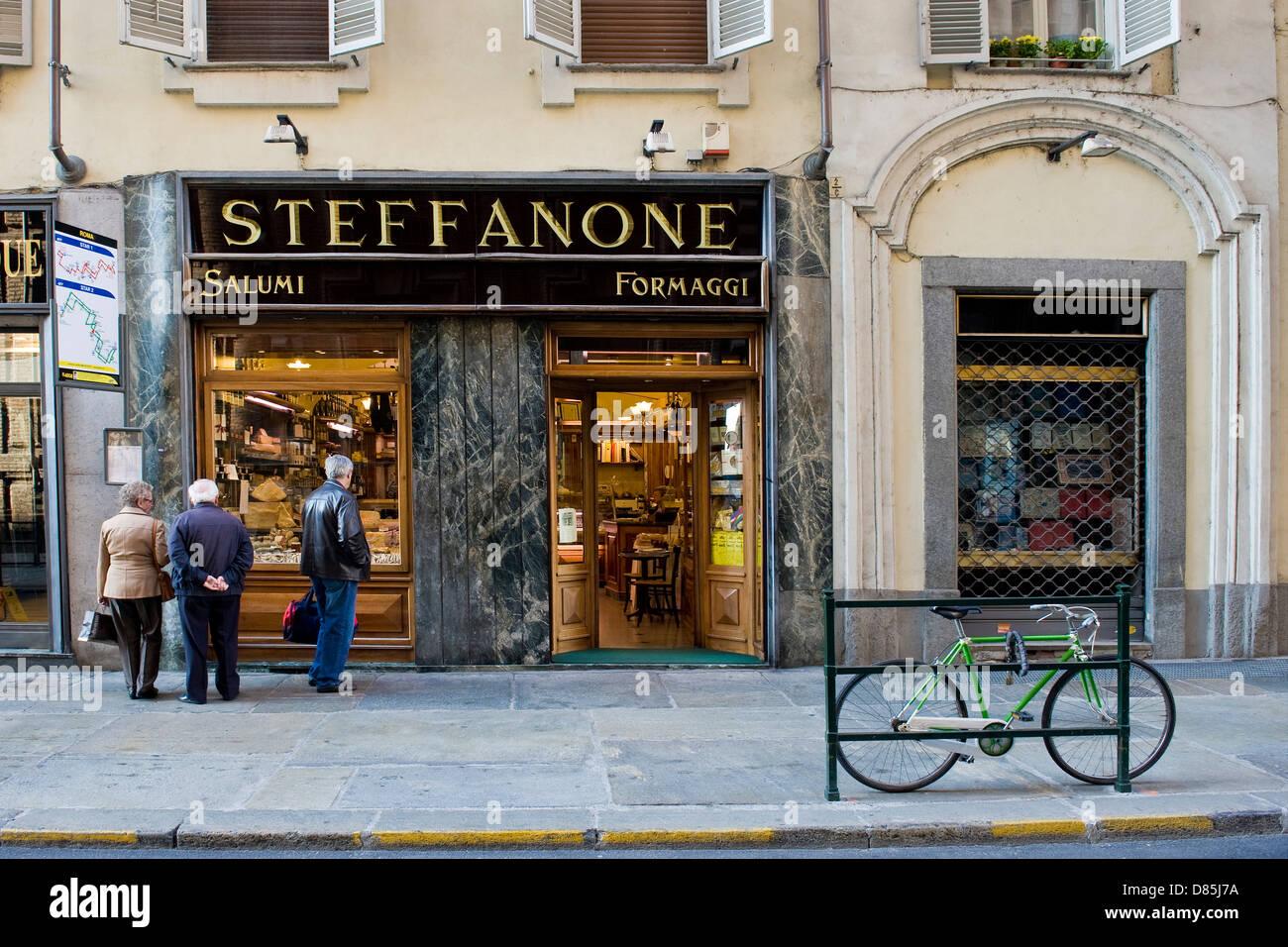 Italien Piemont Turin Steffanone Lebensmittelgeschäft Stockbild