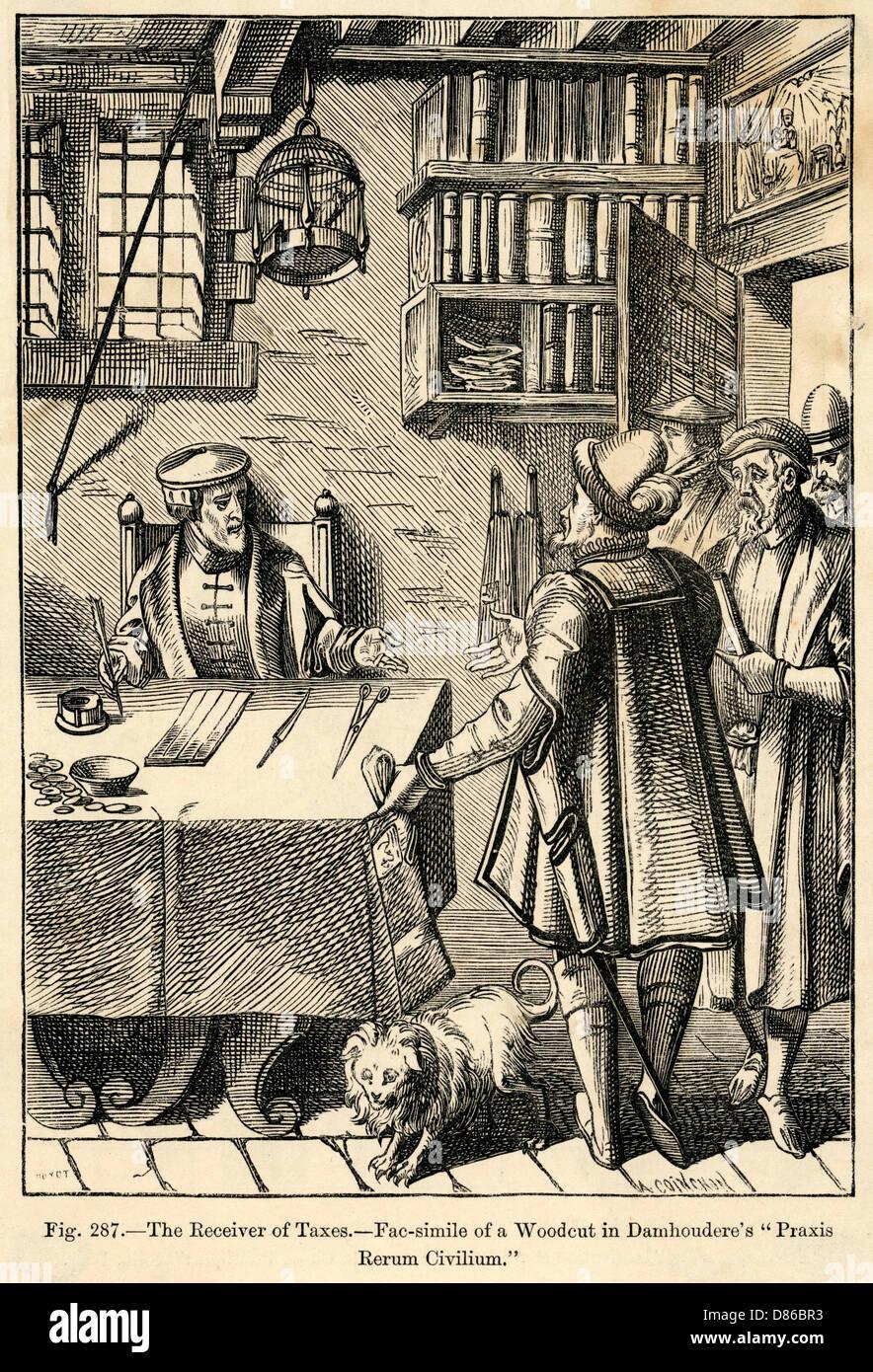 Der Empfänger der Steuern aus dem 16. Jahrhundert Stockbild