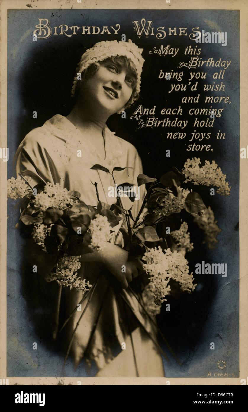 Junge Frau Mit Blumen Auf Einem Geburtstag Postkarte Stockfoto Bild