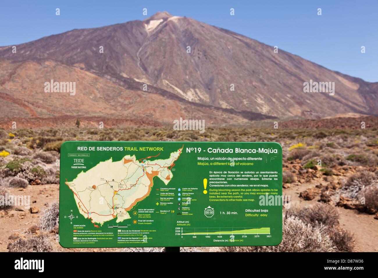 Teneriffa Karte Spanien.Melden Sie Sich Mit Karte Der Wanderwege Im Teide Nationalpark