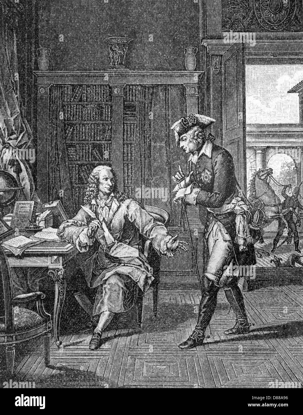 Voltaire + Friedrich gt. Stockbild