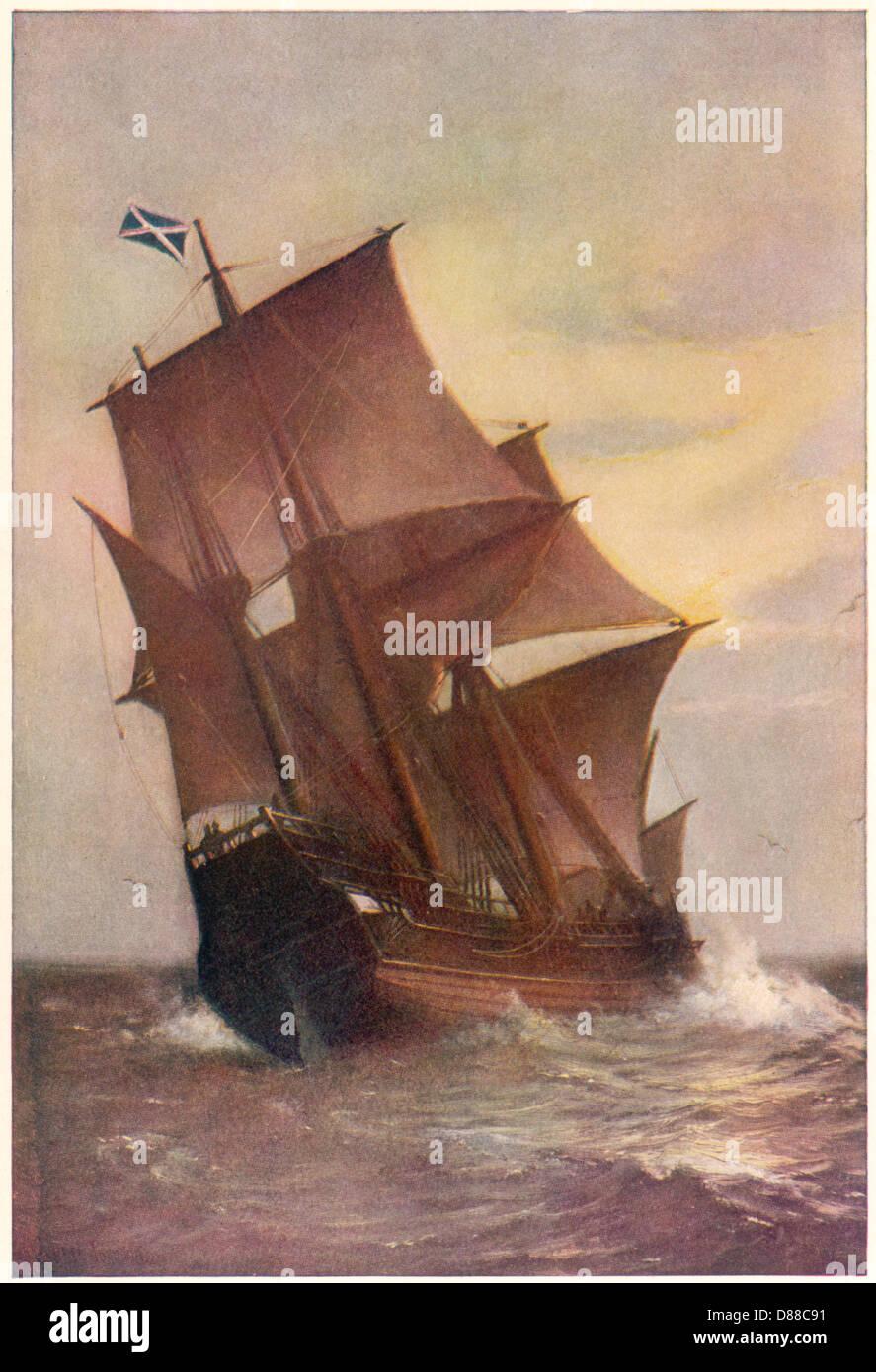 Mayflower unter vollen Segeln Stockbild