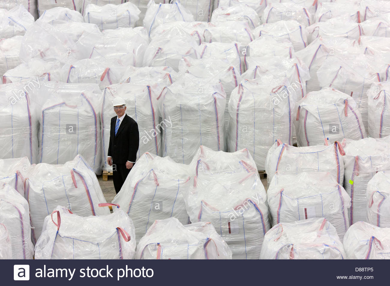 Porträt des Kaufmanns stehen unter großen Taschen von recyceltem Kunststoff-Pellets im Lager Stockfoto