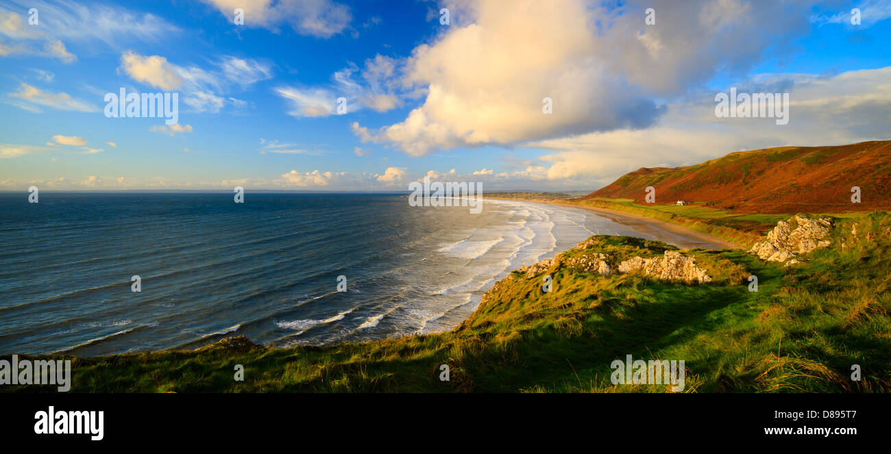 Rhossili Bucht Gower Swansea Wales Stockbild