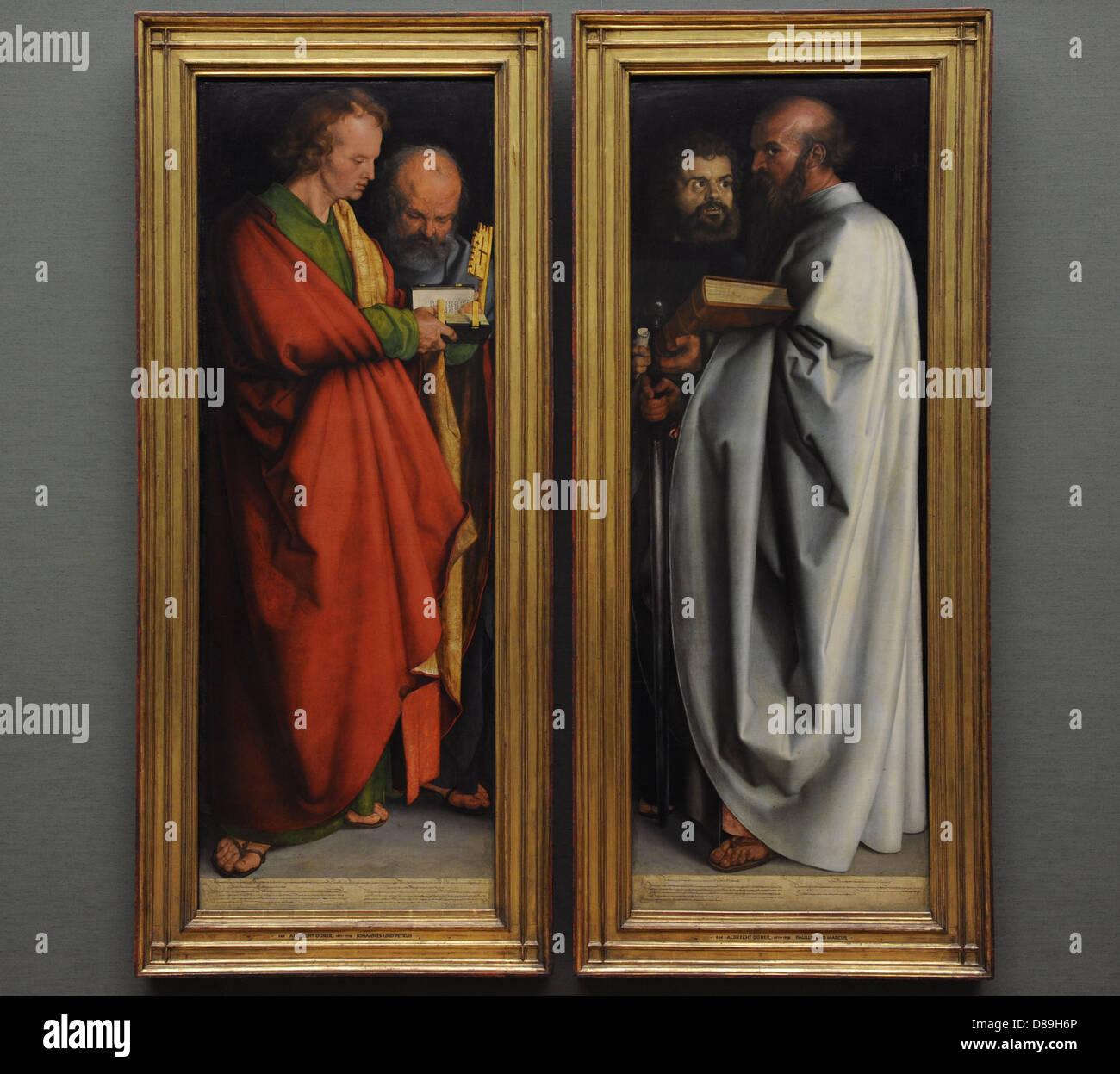 Albrecht Dürer ((1471-1528). Deutscher Maler. Nördlichen Renaissance. Die vier Apostel.  Es war im Jahre Stockbild