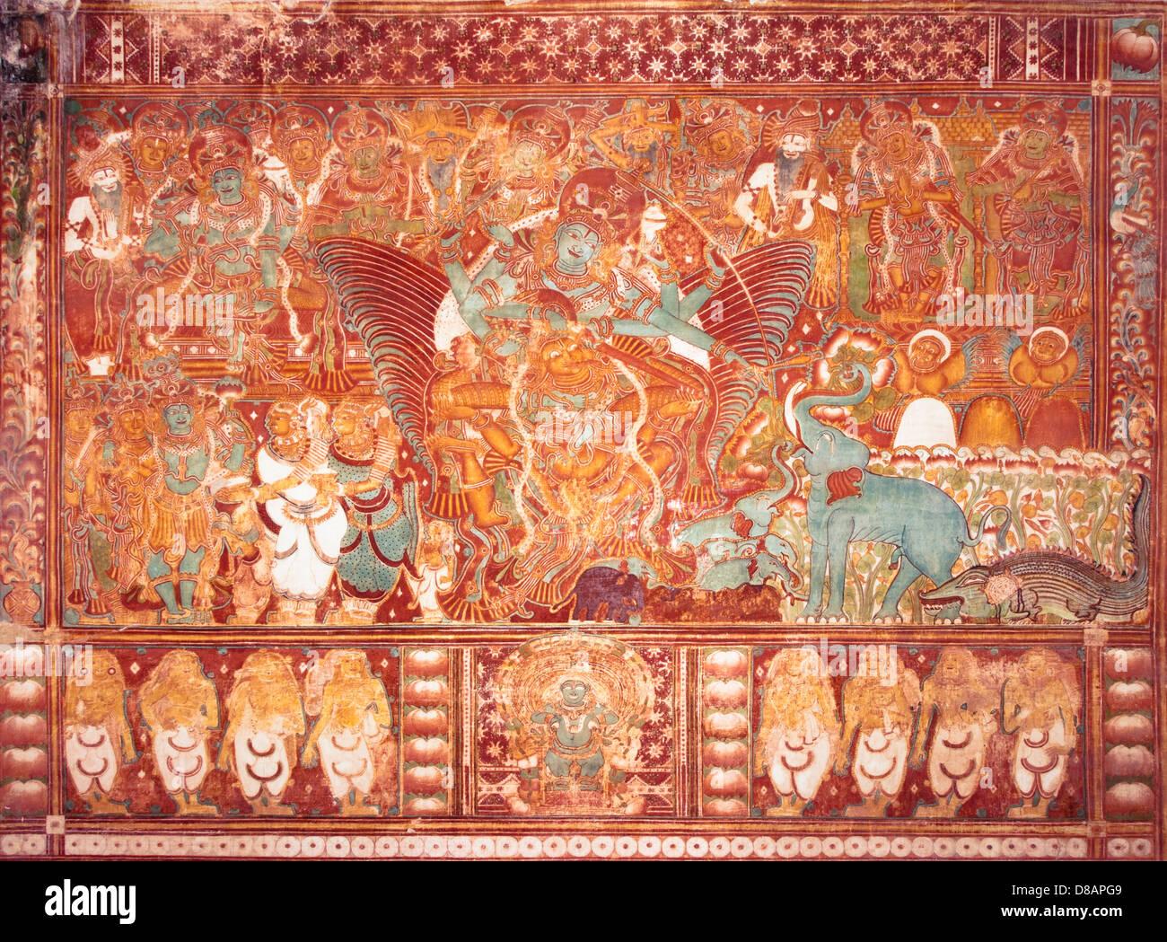 Gajendra Moksha Wandgemälde im Krishnapuram Palast Stockbild