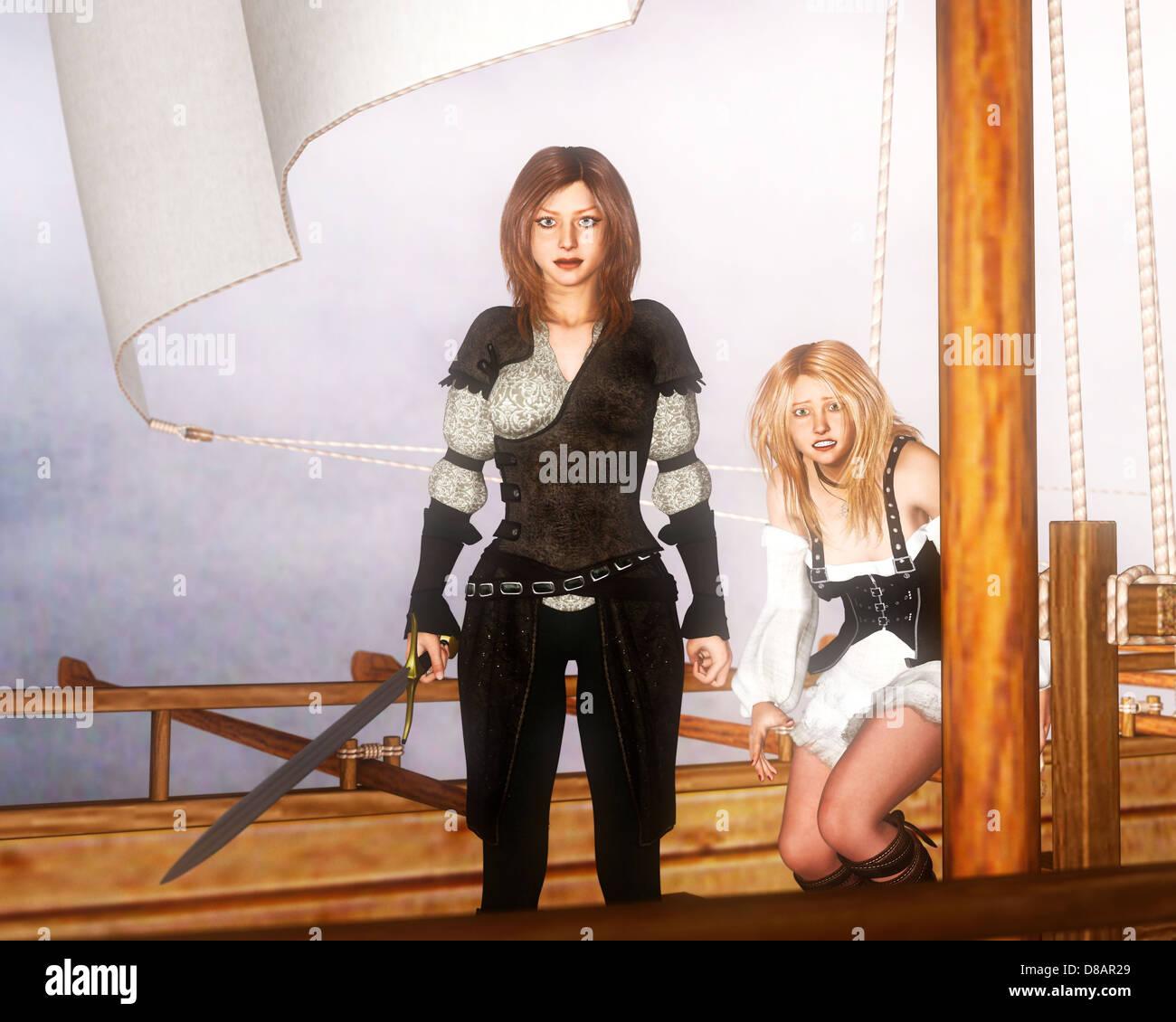 Weiblichen Piraten Stockbild
