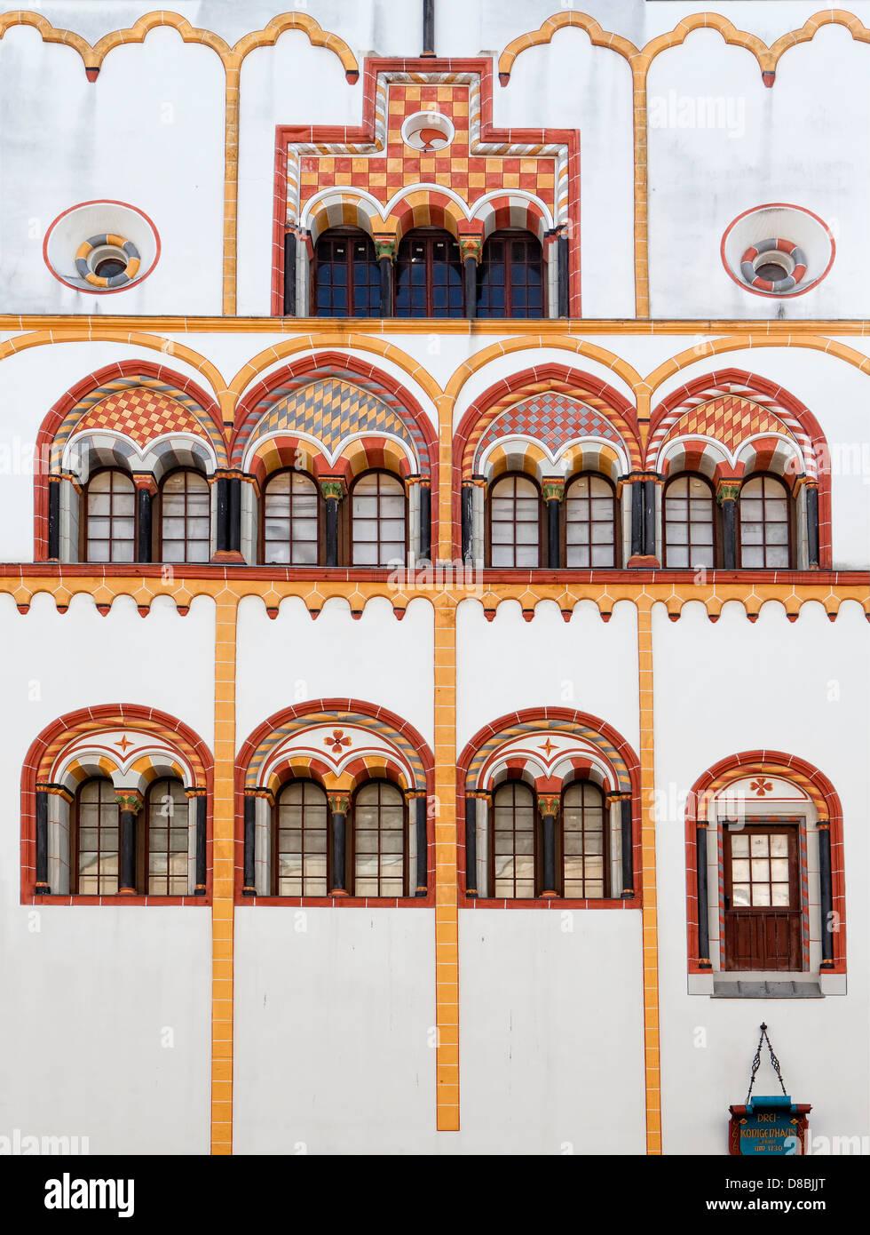 """Fassade des """"Dreikoenigenhaus"""" bauen, Trier, Rheinland-Pfalz, Deutschland, Europa Stockbild"""