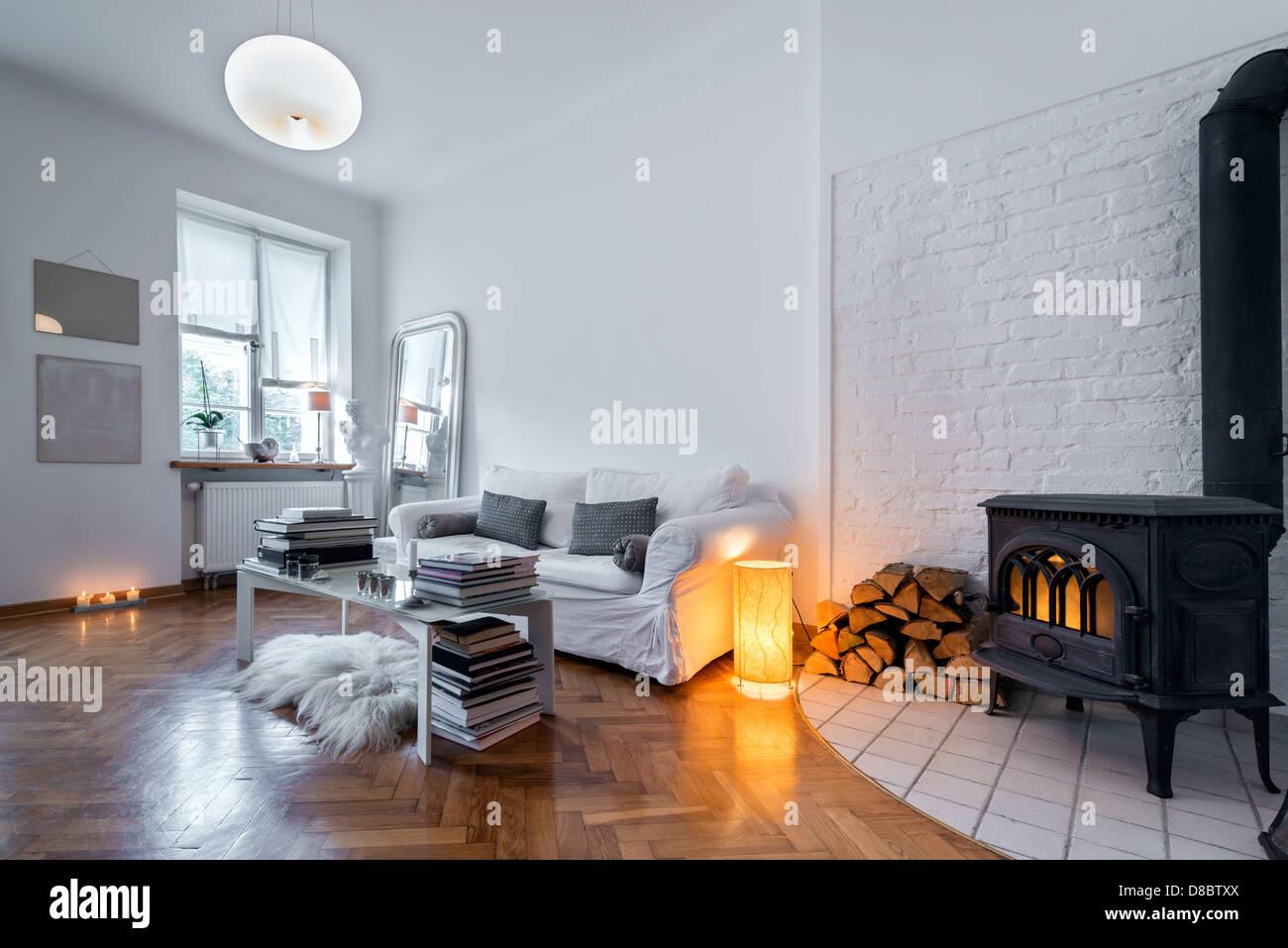 Post Modernes Design Zimmer Mit Kamin
