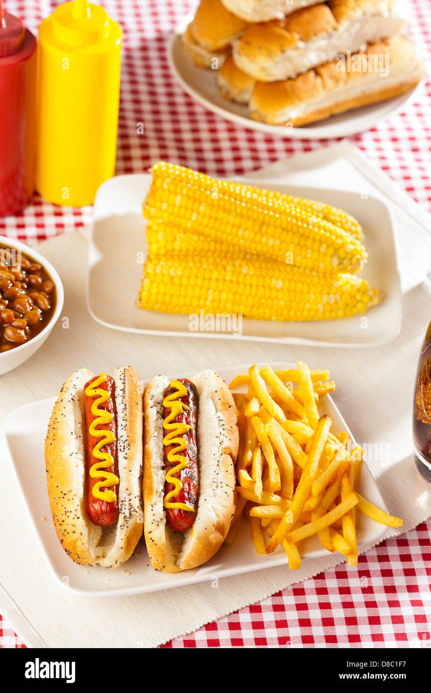 Bio alle Rindfleisch-Hotdog auf einem Brötchen mit Senf Stockfoto