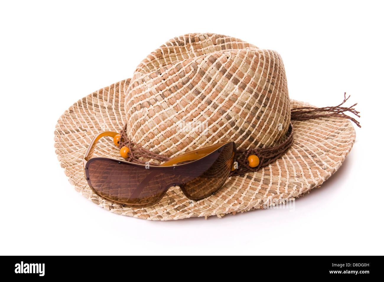 Frauen Hut und Sonnenbrille isoliert auf weiss Stockbild