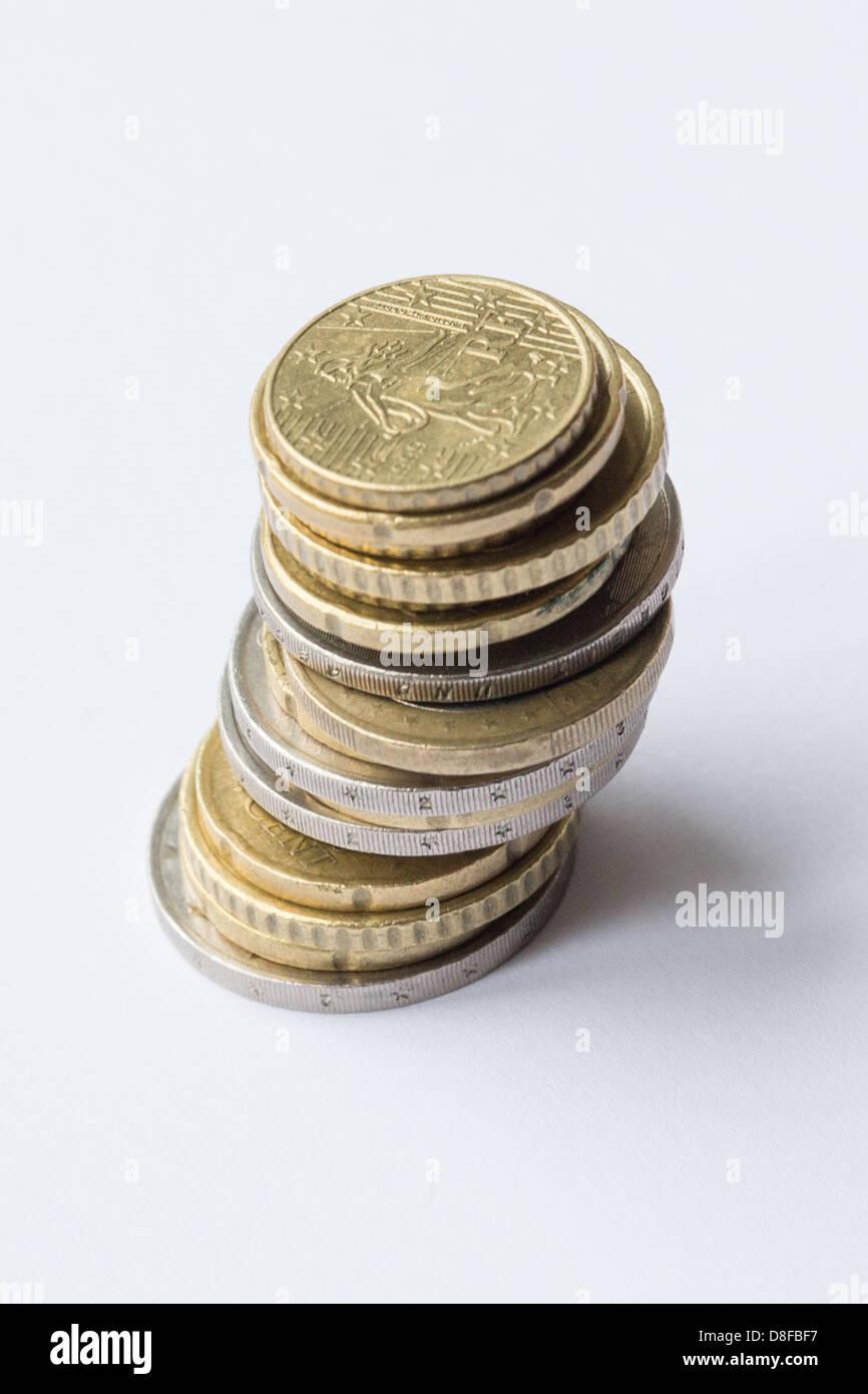 Kleingeld Haufen Von Euro Münzen Mit Top Münze Eine 10 Cent Münze