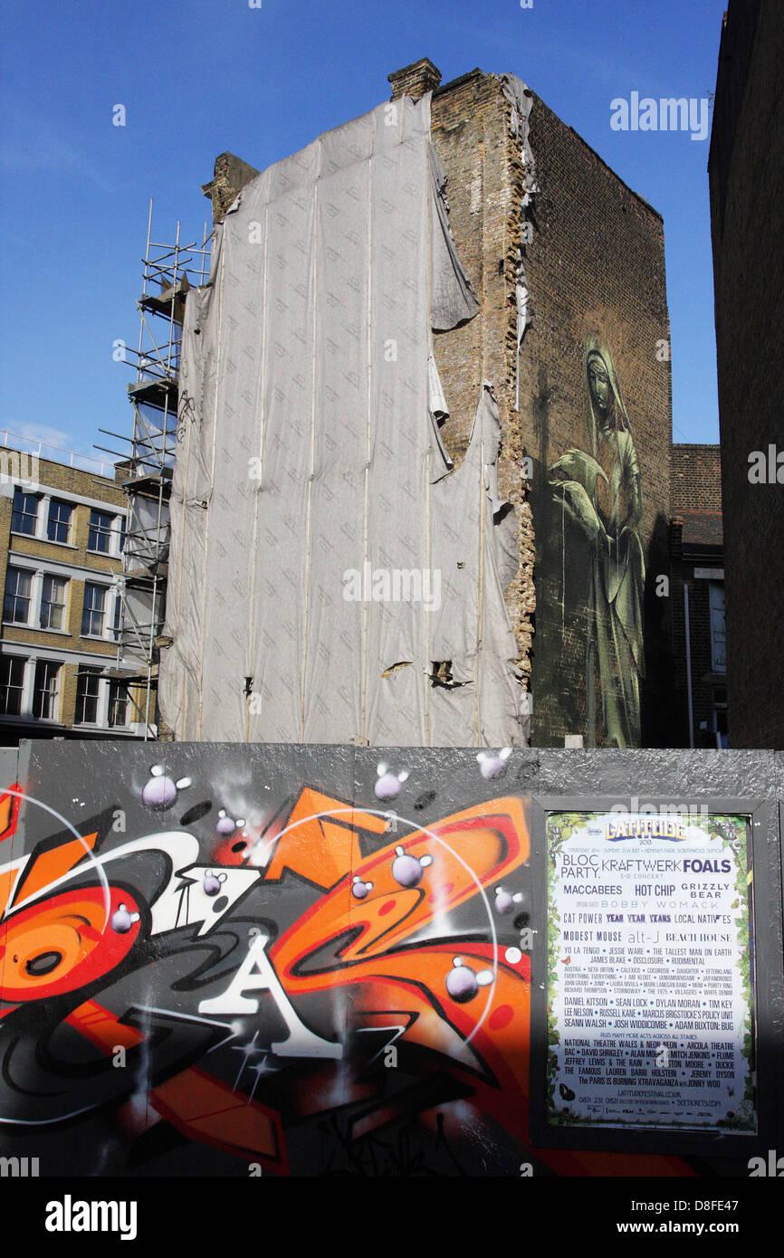Street Art, alle in der Nähe der alten Straße in der Nähe von hoxton nahe der Stadt London. Stockbild