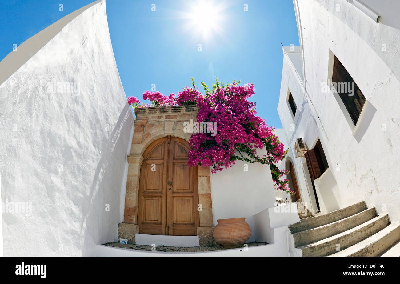 traditional house lindos greece hellas stockfotos traditional house lindos greece hellas. Black Bedroom Furniture Sets. Home Design Ideas