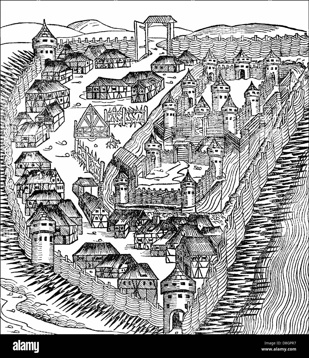 Der Beginn einer mittelalterlichen Stadt, Europa Stockbild