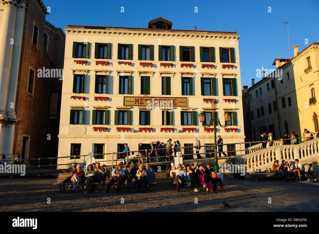 Hotel Metropole in Venedig, Italien. Stockbild