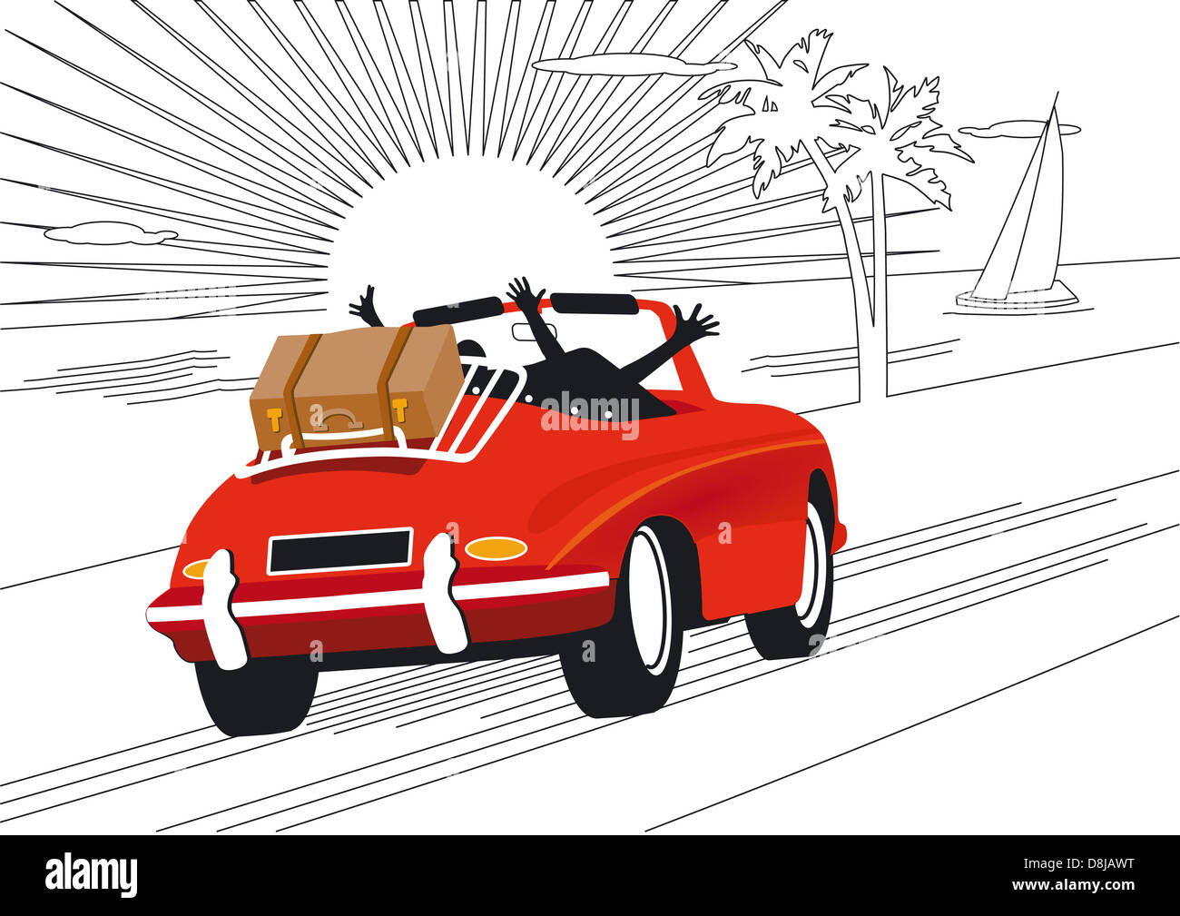Erholsame Ferien mit dem Auto Stockbild