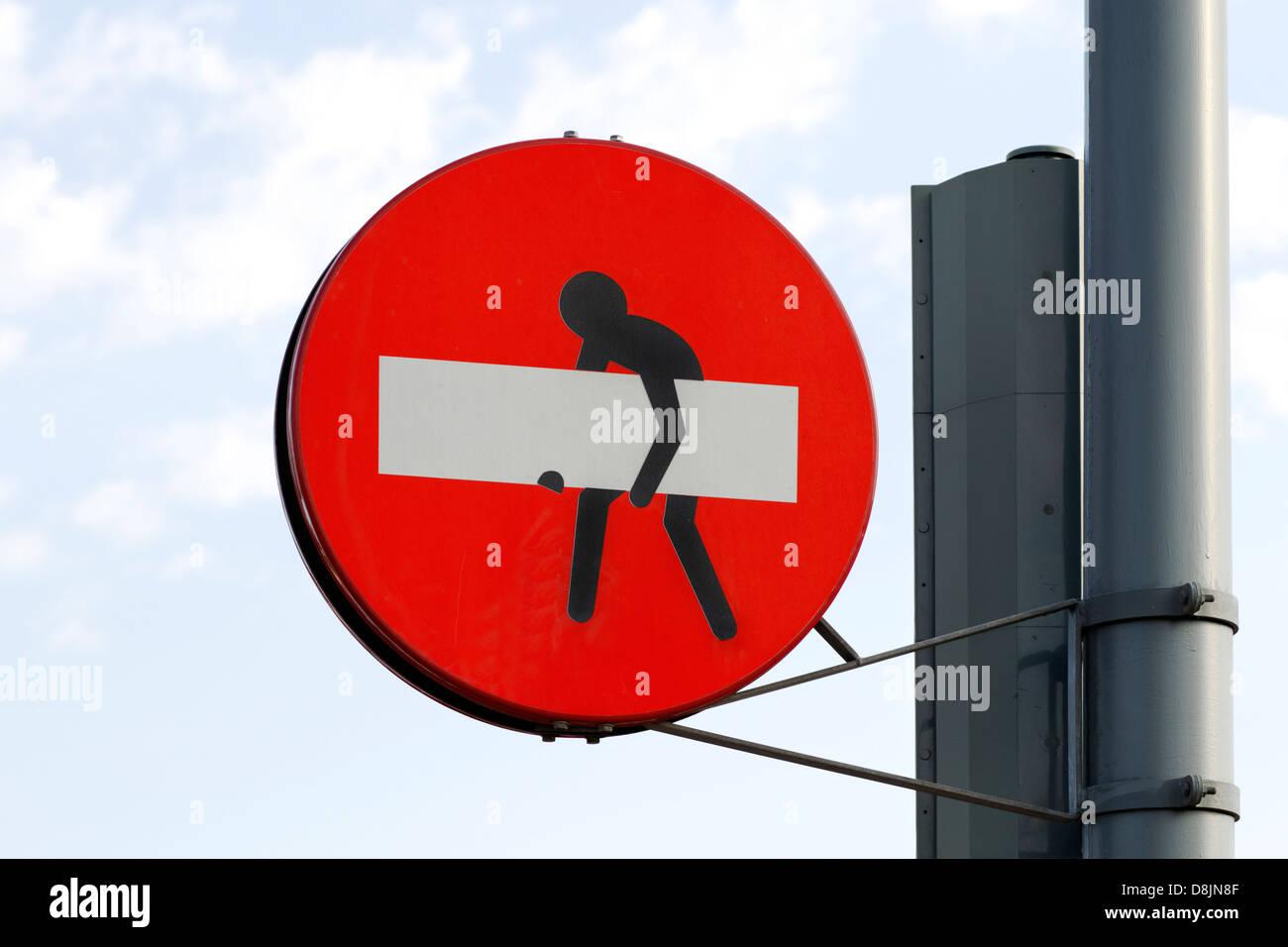 Aufkleber Auf Verkehrszeichen Stockfotos Aufkleber Auf