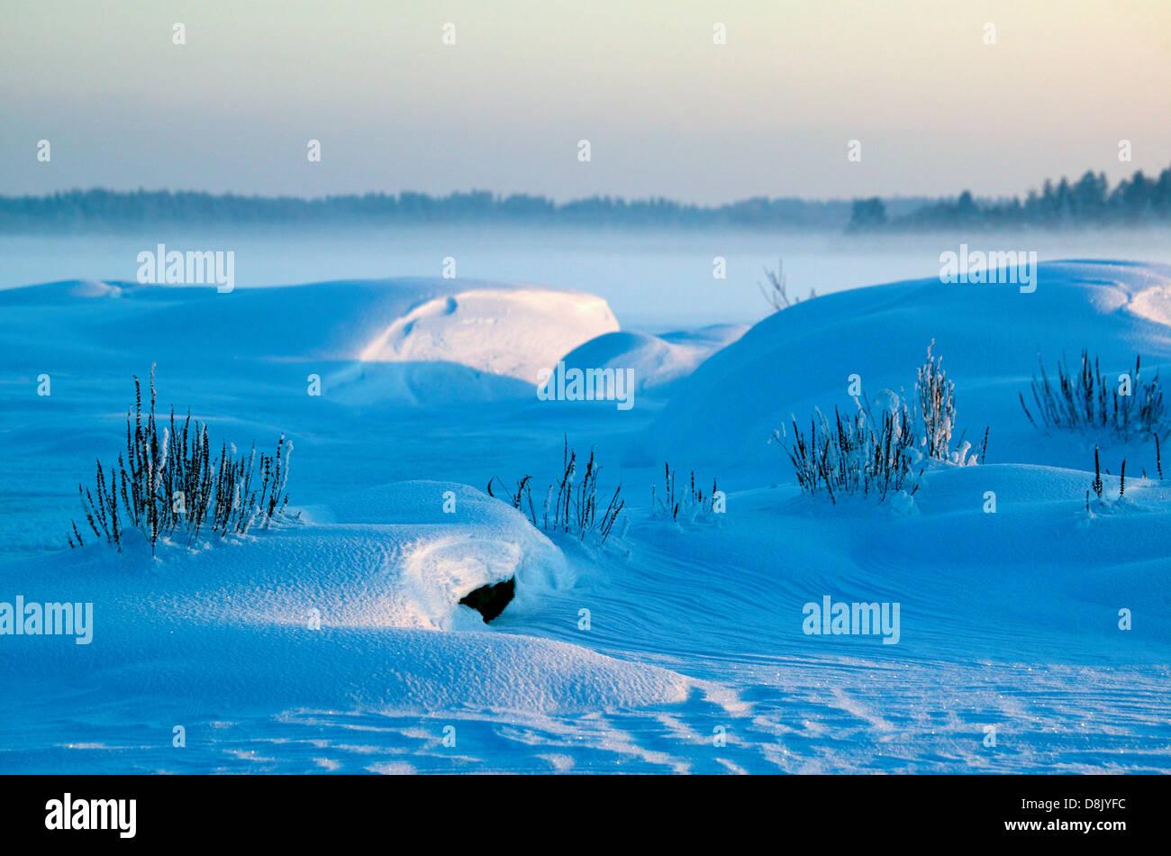 Schönen winter Abend an Moskjaera im See Vansjø, råde Kommune, Østfold fylke, Norwegen. Stockbild