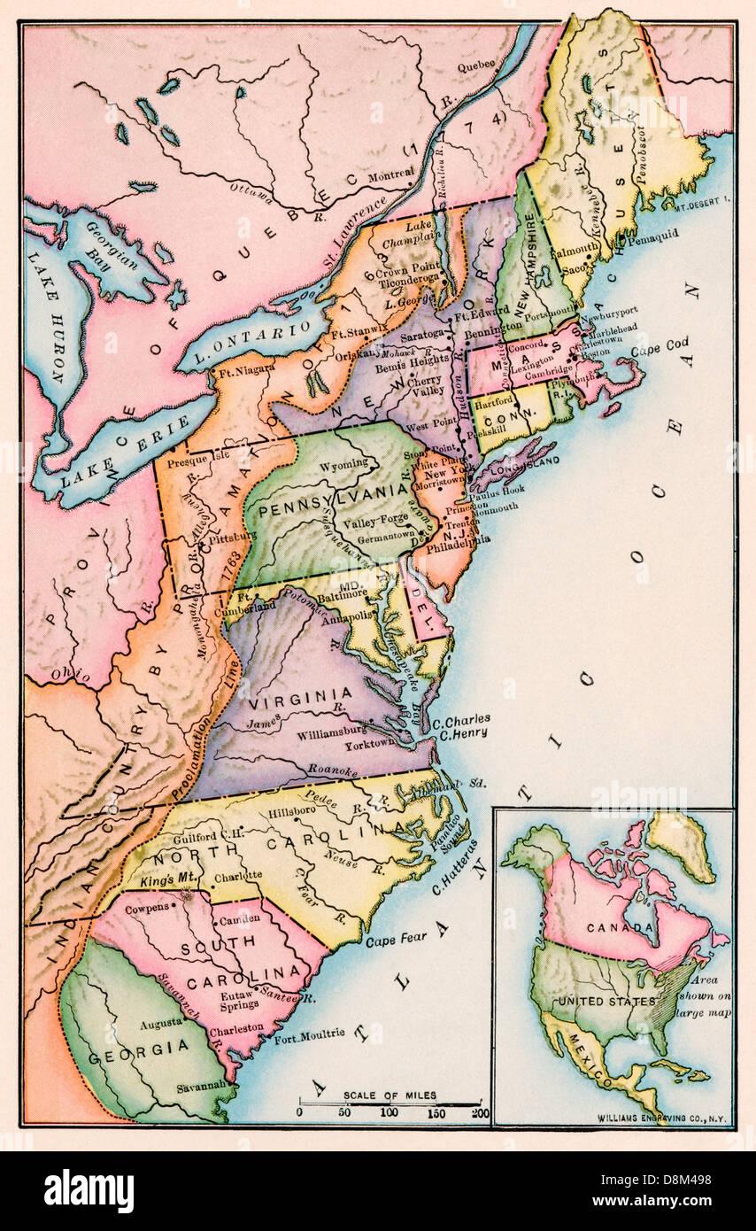 Amerikanischen Kolonien bei Ausbruch der Revolution. Gedruckte farbige Lithographie Stockbild