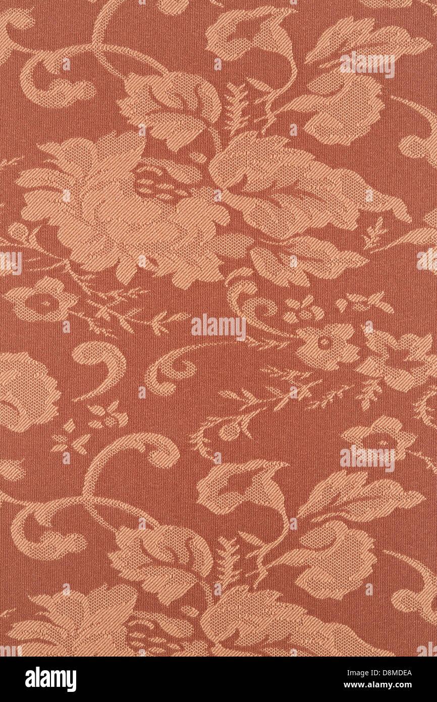 Braune Blumentapete Textur Hintergrund, mit hohem Detailgrad Stoff Stockbild