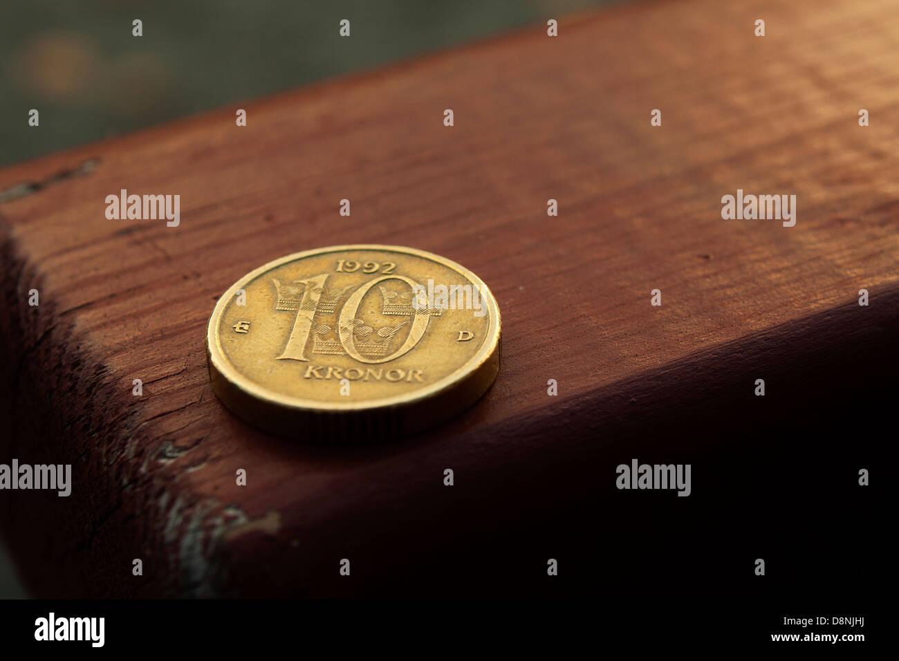 Eine Schwedische Münze Ein Wert Von 10 Kronen Ca 1 Euro Stockfoto