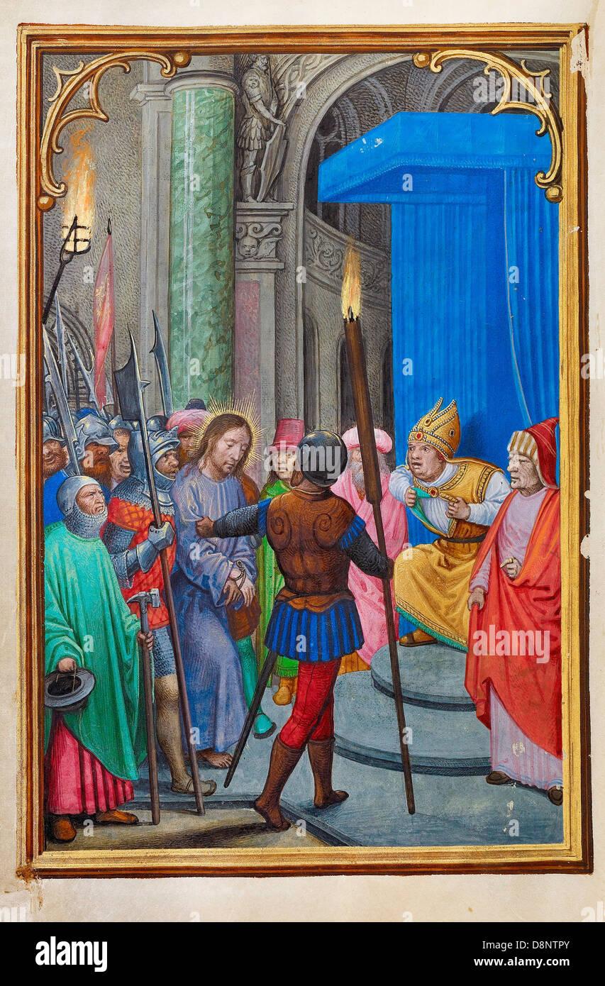 Simon Bening, Christus vor Kajaphas 1525-1530 Öl auf Leinwand. Tempera-Farben, Goldfarbe und Blattgold auf Stockbild