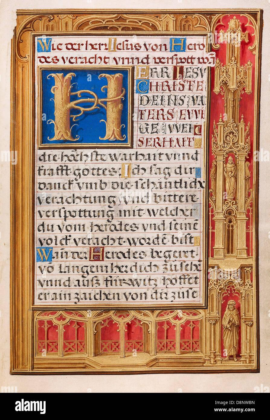 Simon Bening, dekoriert Text Page 1525-1530 Öl auf Leinwand. Tempera-Farben, Goldfarbe und Blattgold auf Pergament. Stockbild