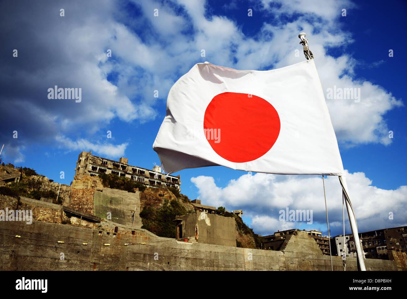 Japanischen Insel Gunkanjima aufgegeben Stockbild