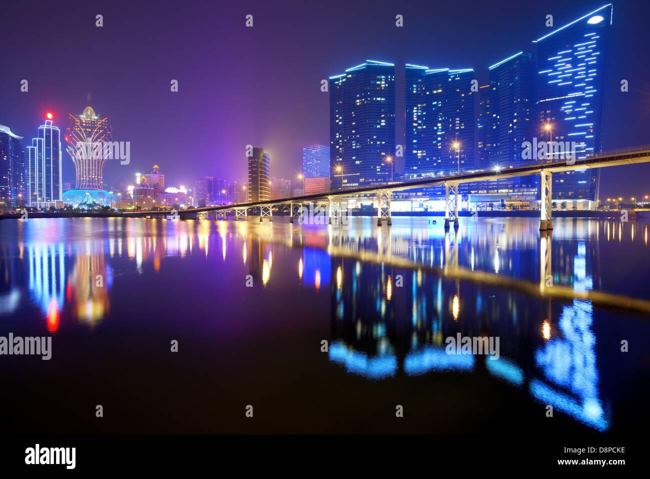 Resorts und Casinos in Nam Van-See in Macau SAR, China. Stockbild