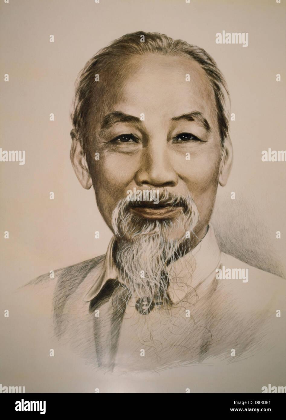 Ho Chi Minh (1890-1969), vietnamesische nationalistischer Führer, Porträt Stockbild