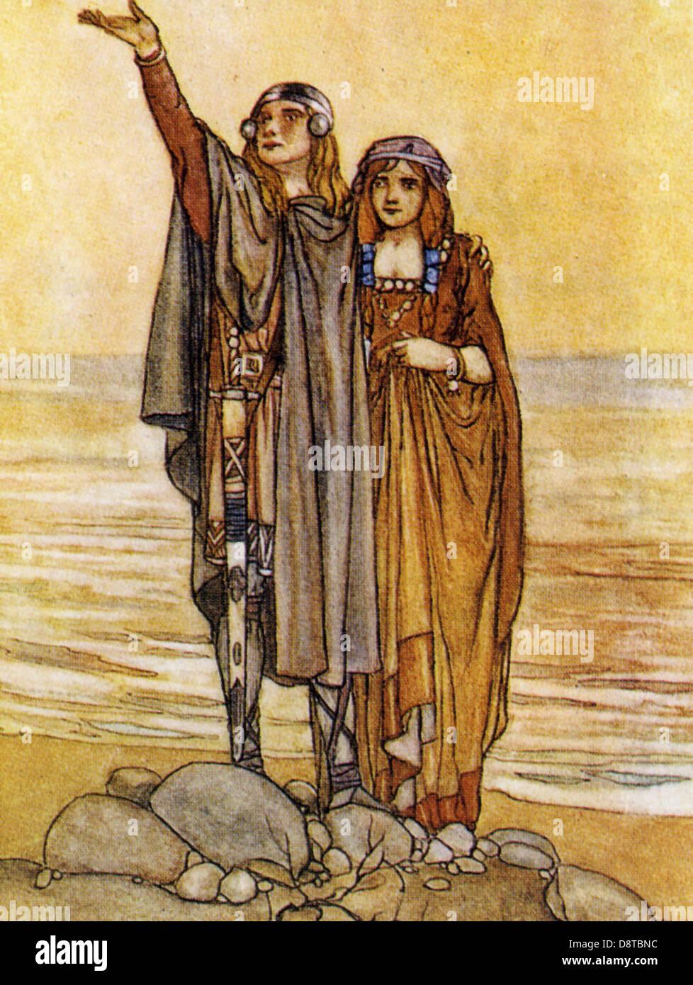 FINN MacCOOL irische mythologische Jäger-Krieger und Prinzessin Tasha gezeichnet von Stephen Reid um 1910 Stockbild