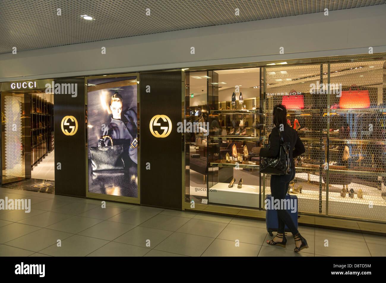 Gucci Shop Fiumicino Flughafen, Rom, Italien Stockfoto, Bild