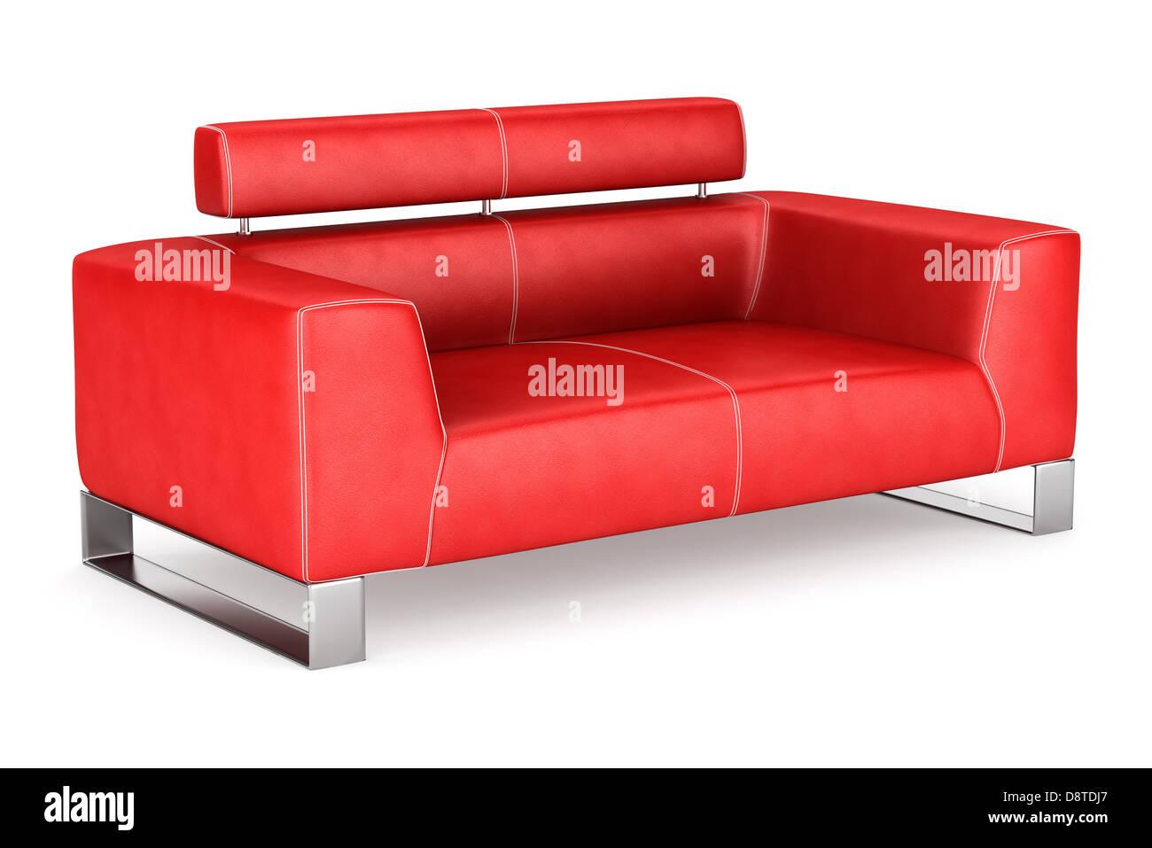 modernen roten Ledercouch isoliert auf weiss Stockbild