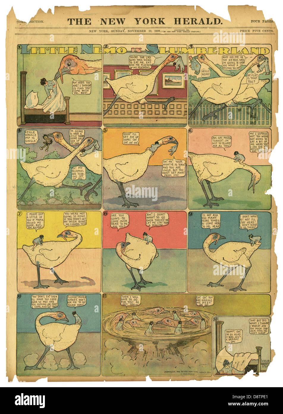 """Danksagung """"Little Nemo in Slumberland"""" von Winsor McCay, von der New York Herald, 22. November 1908. Stockbild"""