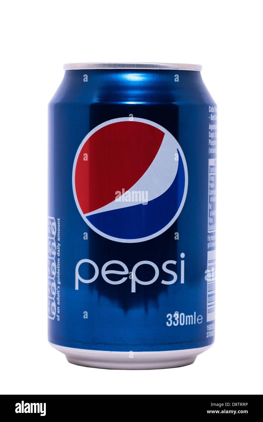Eine Dose Pepsi Cola auf weißem Hintergrund Stockbild