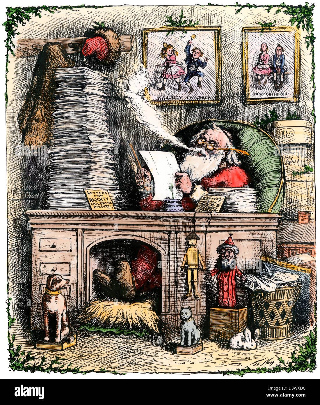 Santa Claus Öffnen eines Briefwechsels stack, 1880. Hand - farbige Holzschnitt von Thomas Nast Abbildung Stockbild