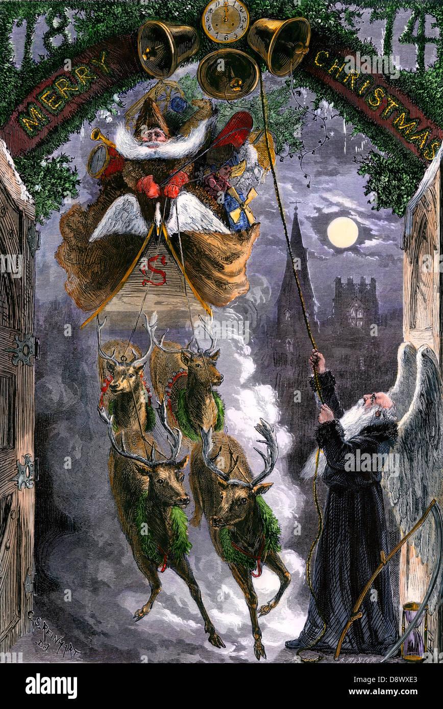 Vater Zeit Glocken für die Ankunft von Santa Claus in seinem Schlitten, 1870. Hand - farbige Holzschnitt Stockbild