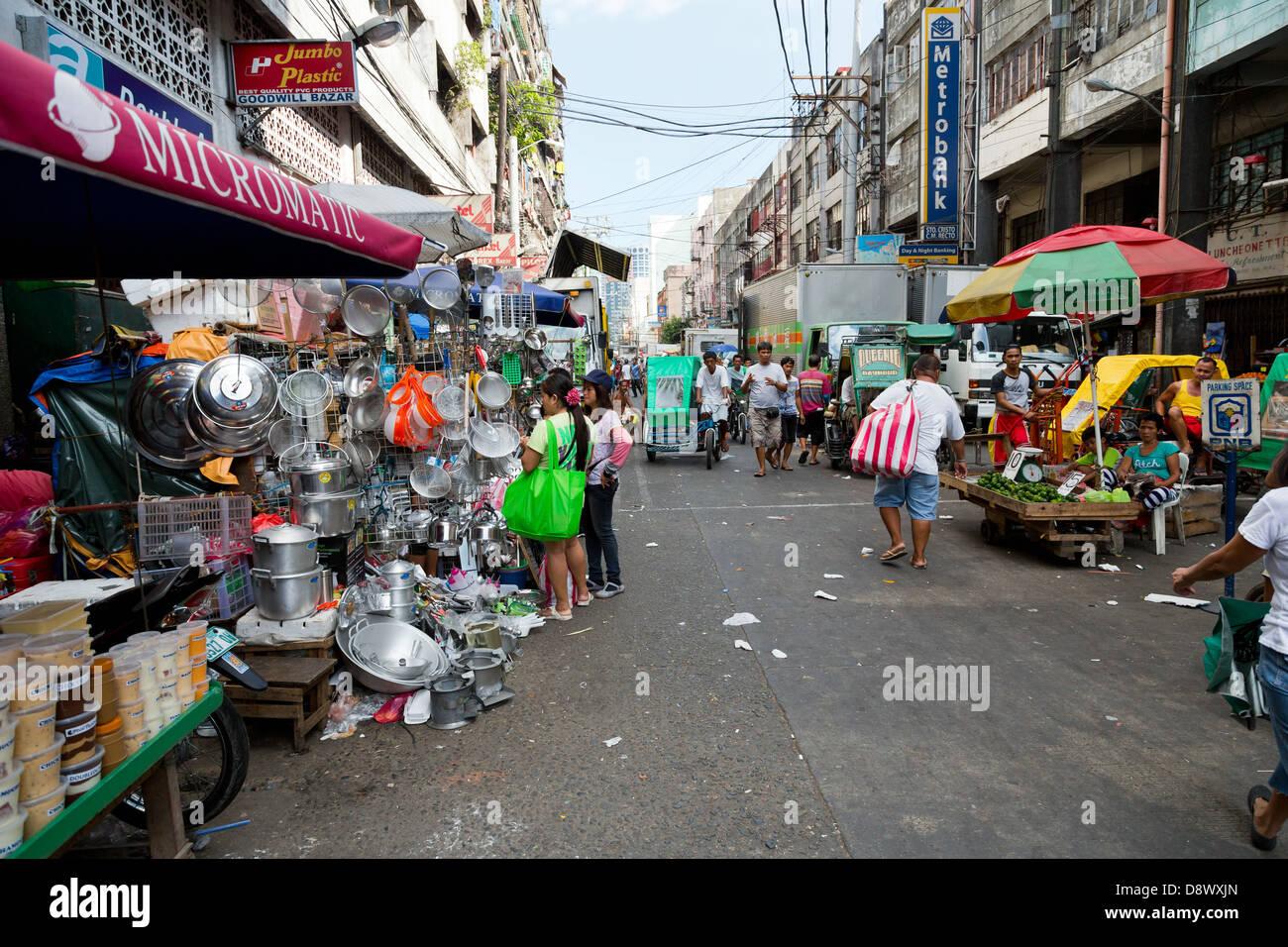 Alltag in den Straßen von Manila, Philippinen Stockbild