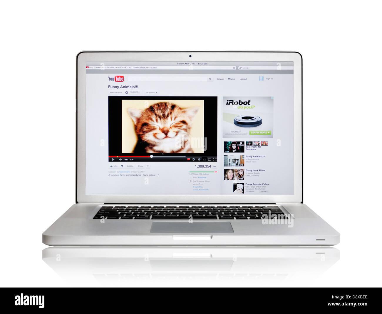 Lustige Video Website Youtube Auf Laptop Bildschirm Stockfoto Bild