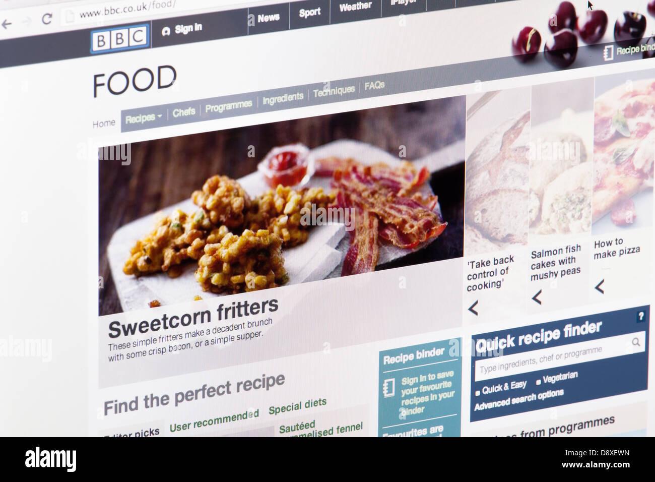 BBC Online-Nahrungsmittelrezepte Website oder Web-Seite auf einem Laptop-Bildschirm oder Computer-monitor Stockbild