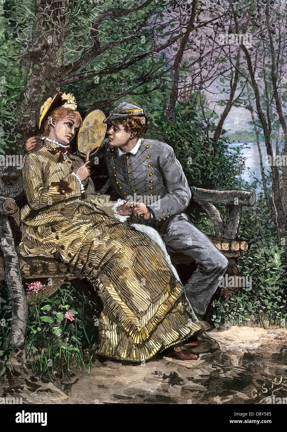 Westpunktjüngsterer umwerben, einer jungen Frau, 1870. Hand - farbige Holzschnitt Stockbild