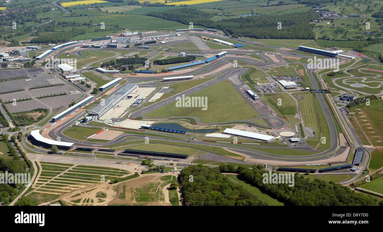 Luftaufnahme von Silverstone Formel1 Rennstrecke in Northamptonshire Stockbild