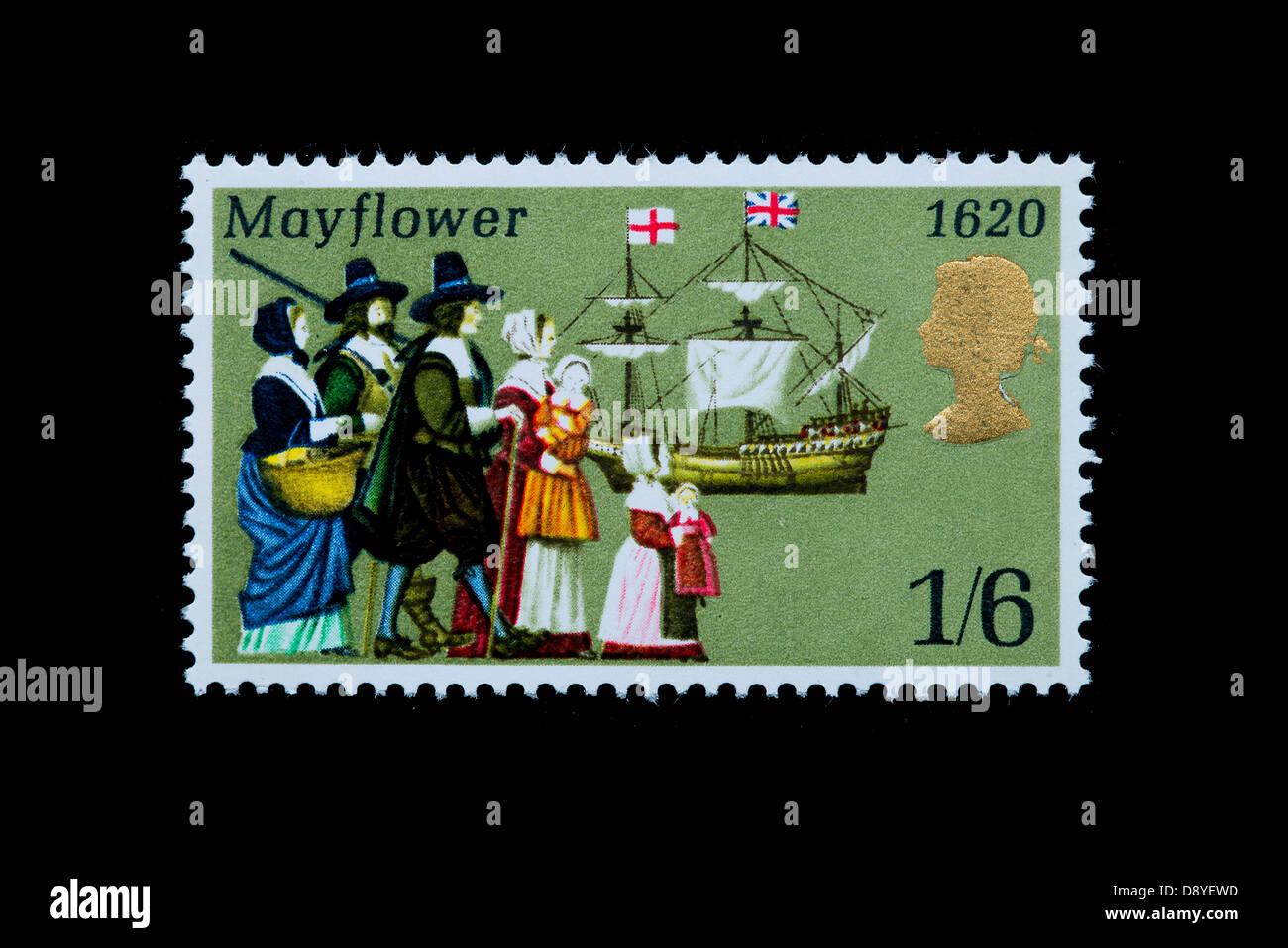 Mayflower Jahrestag in einem britischen Stempel Stockbild