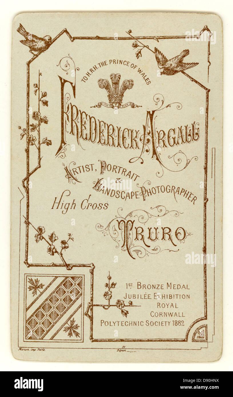 Umkehren Der Eine Carte De Visite Visitenkarte Aus Studios Von Frederick Argall Truro