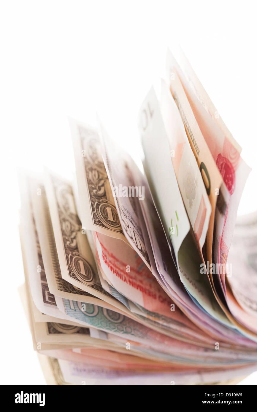 Geldschein, Länder gemischt Stockbild