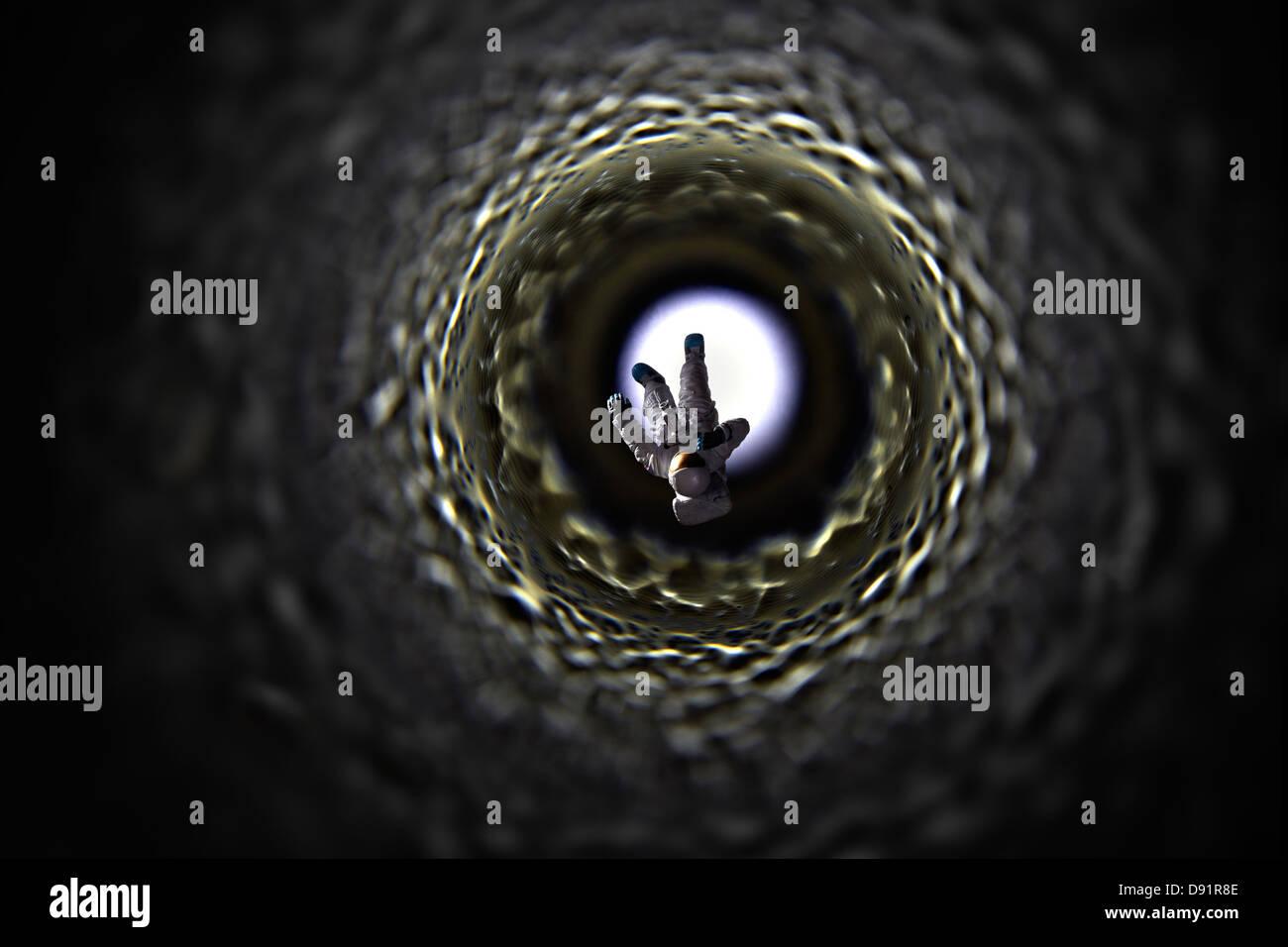 Astronaut in verloren, als der noch unentdeckten um noch zu benennenden, kosmischen Phänomens Stockbild